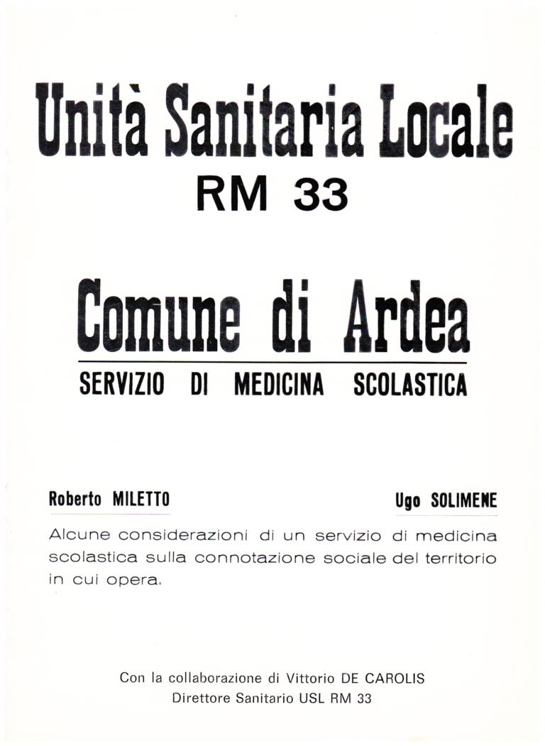 """Copertina del volume """"Alcune considerazioni di un servizio di medicina scolastica sulla connotazione sociale del territorio in cui opera"""""""